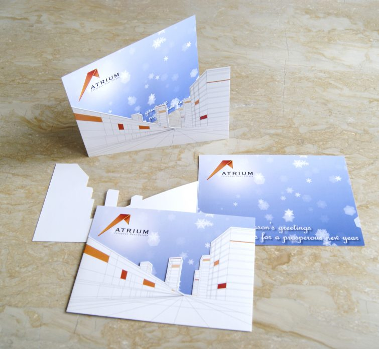AERE Holiday Cards: Design and production printing and laser cut