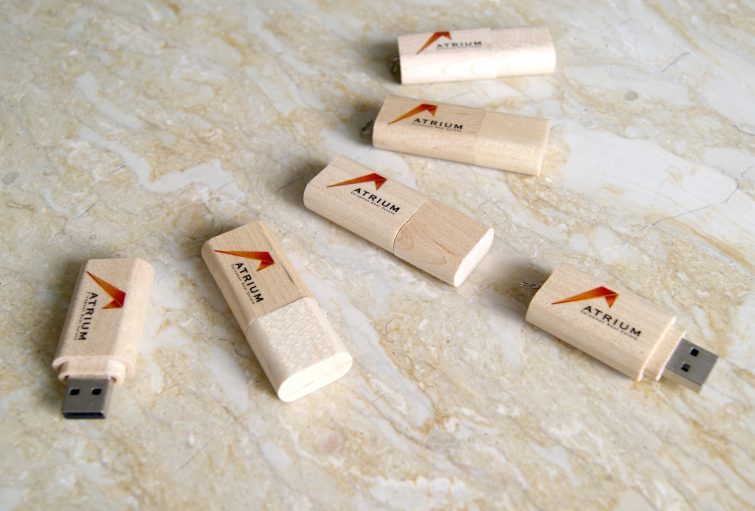 AERE wooden USB drives with interactive presentation