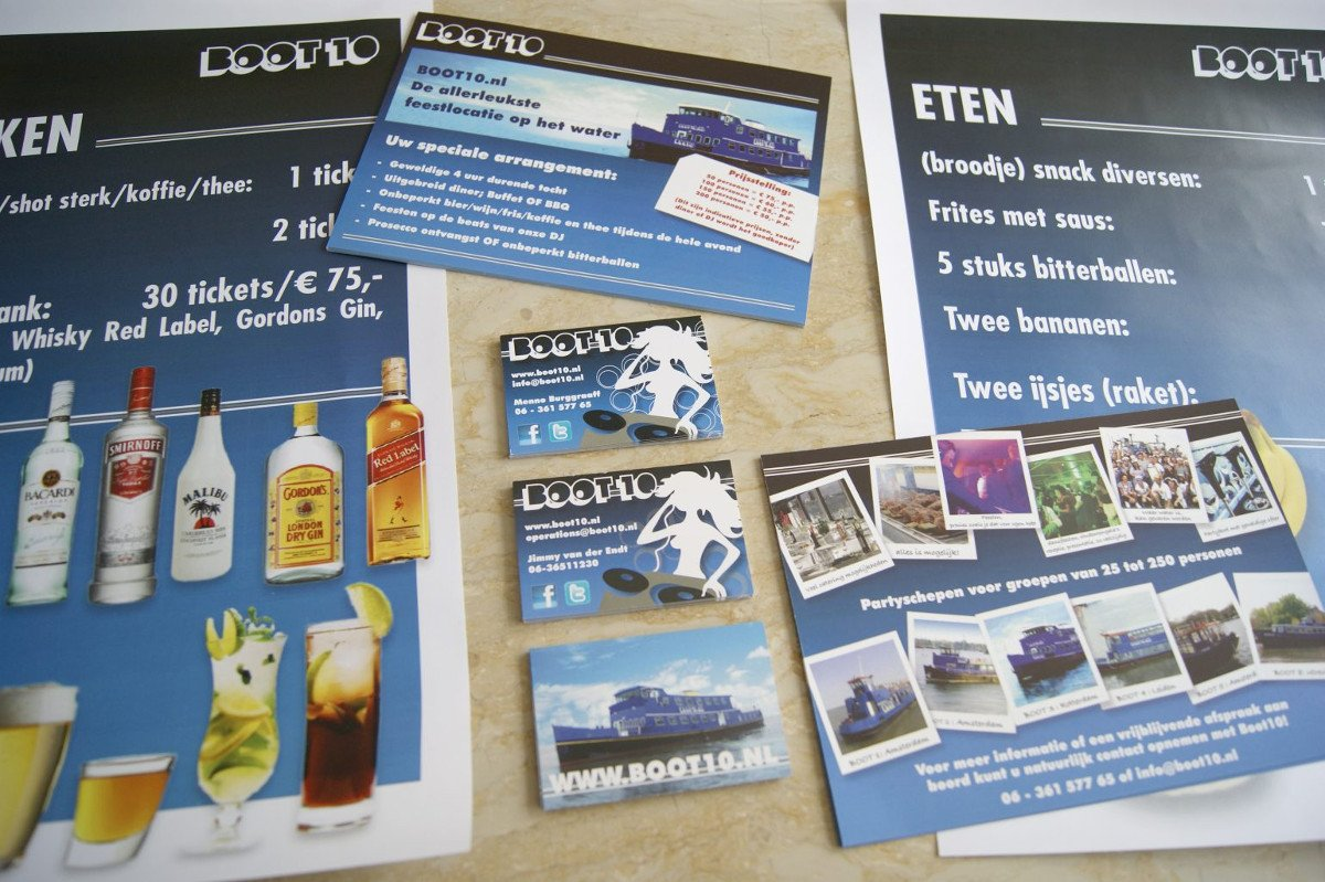 Rederij BOOT10: Business cards, posters, flyers