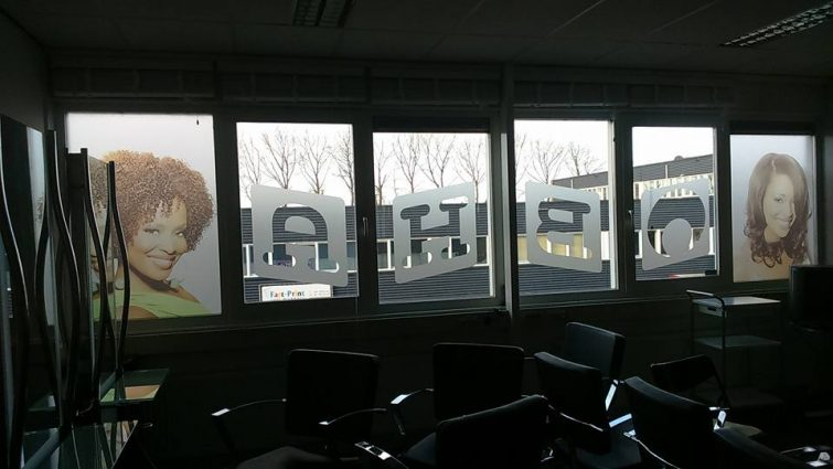 Black Hair Academy Etched Glass signage